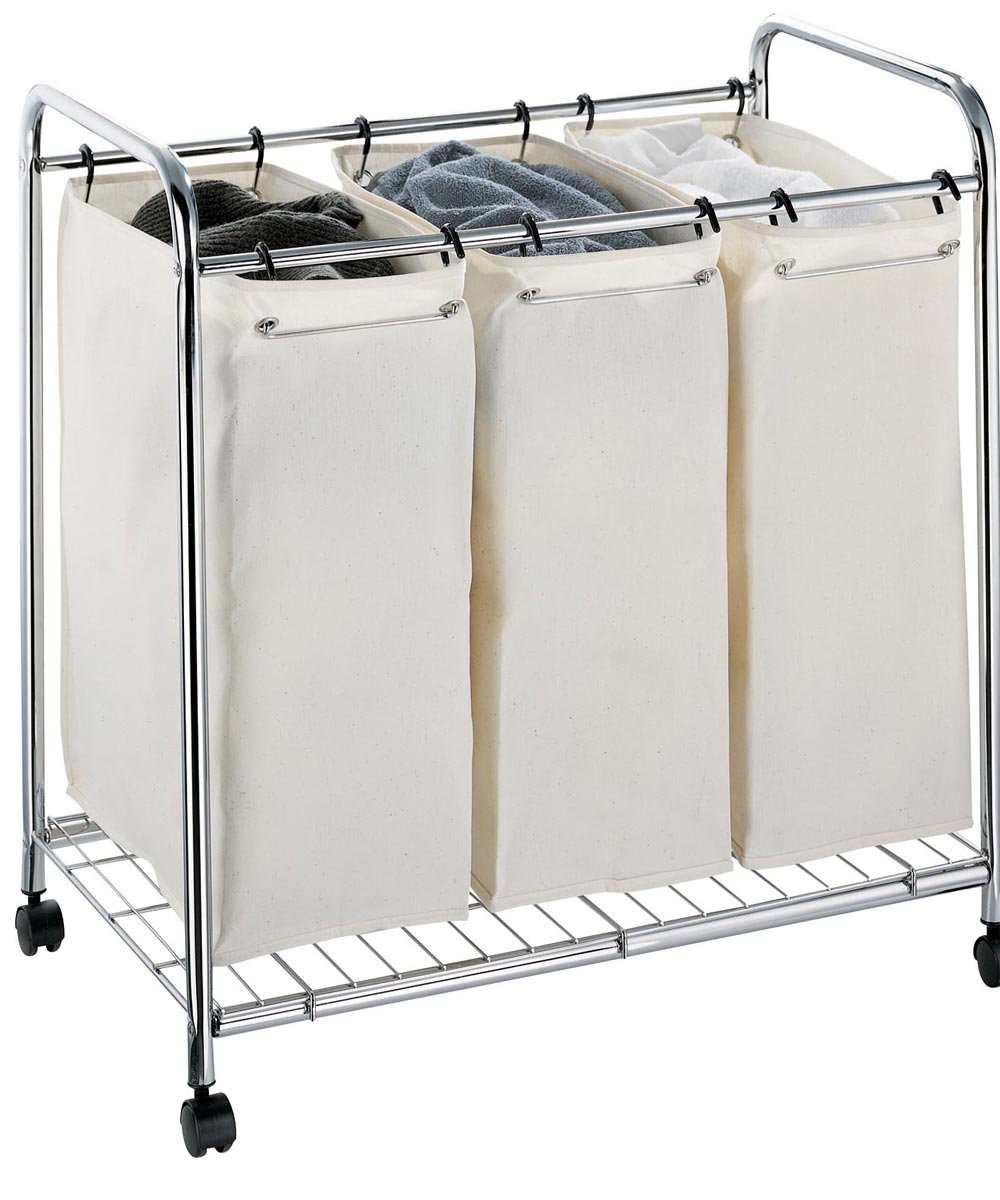 3-Section Chrome Hamper with Canvas