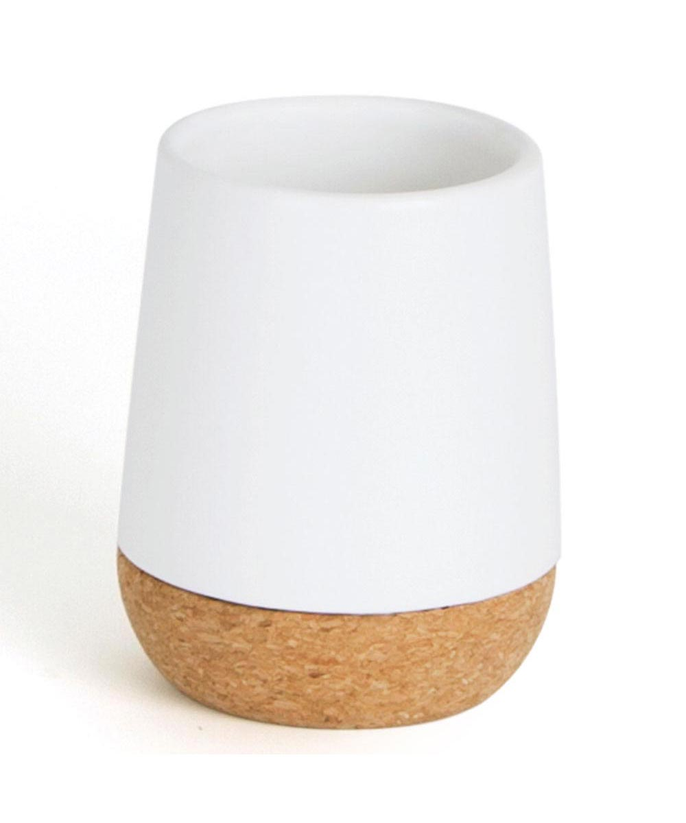 Kera Bathroom Tumbler, Cork/White