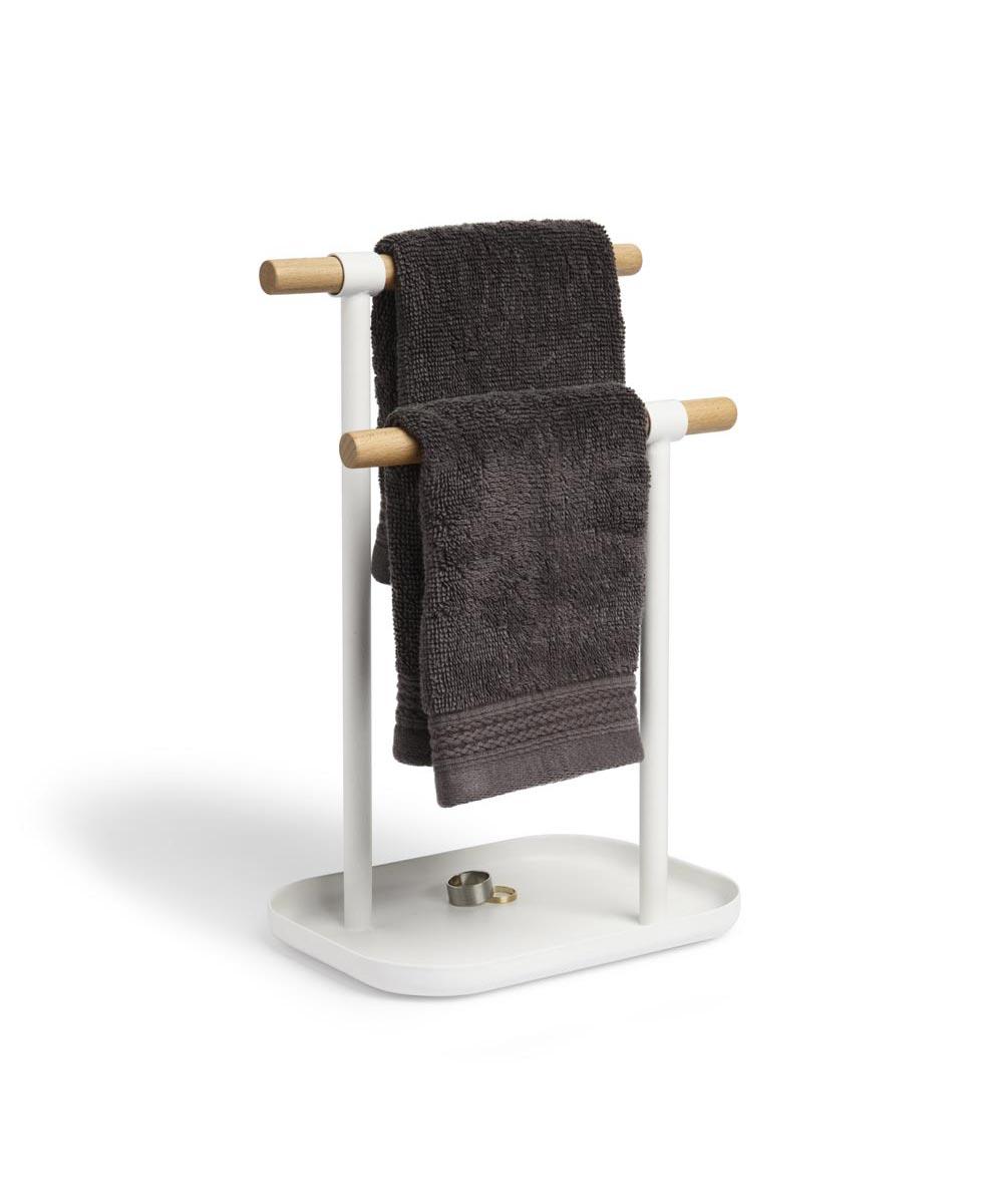 Vana Double Towel Tree Stand, White