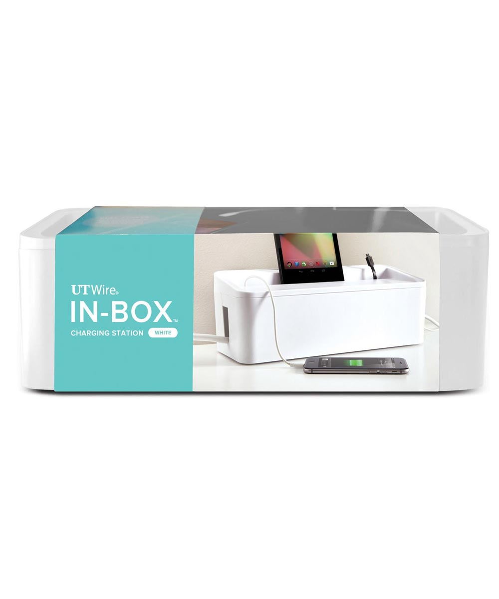 In-Box Desktop Mobile Charging Station & Power Organizing Box, 12.50x5.13 Inches, White
