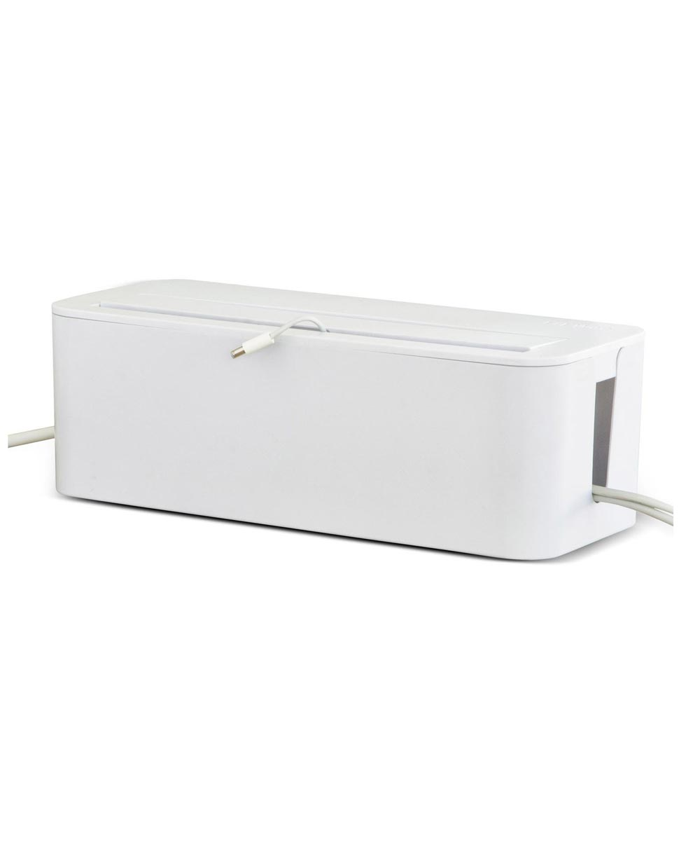 In-Box Cable Under Desk Organizing Management Box, 16.38x6.50 Inches, White