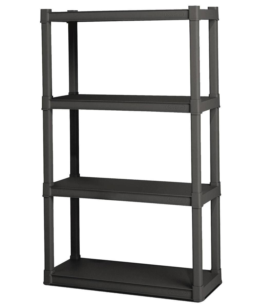 4-Tier Ventilated Shelf Unit, Flat Gray