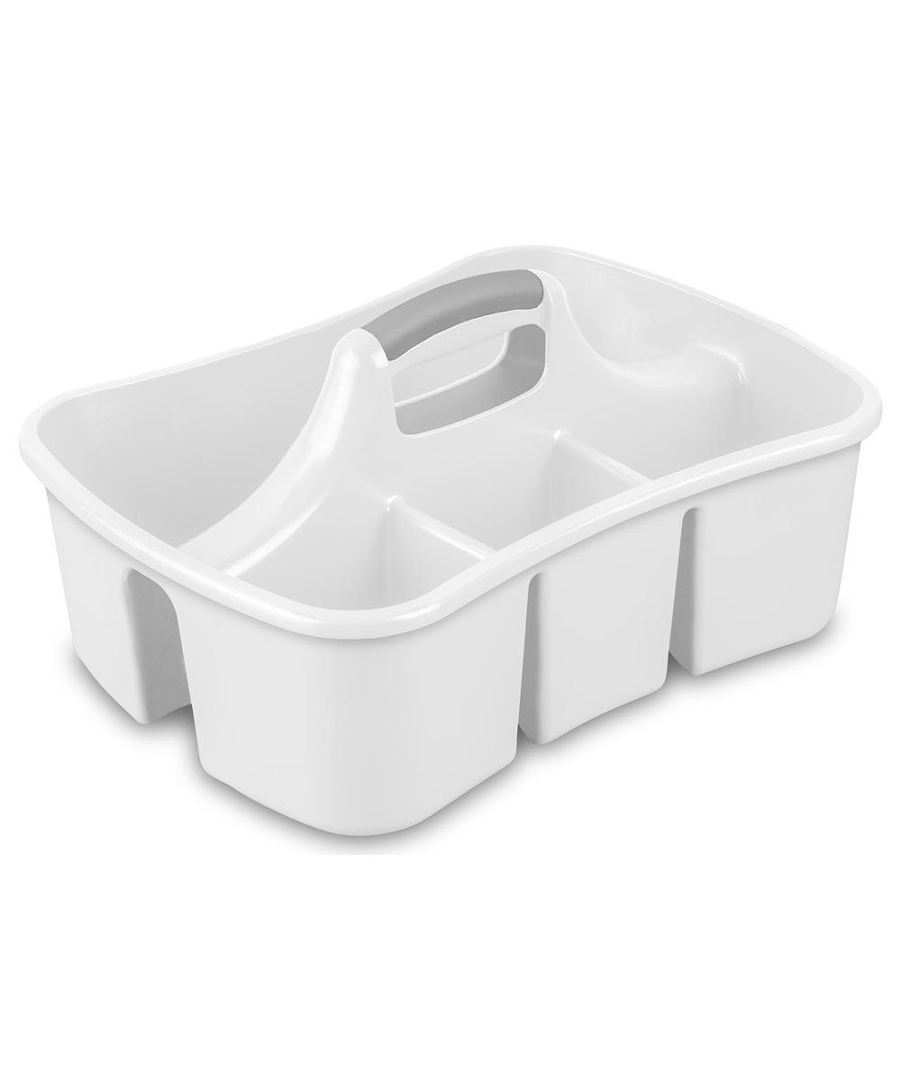 Sterilite 4-Compartment Divided Ultra Storage Caddy, White