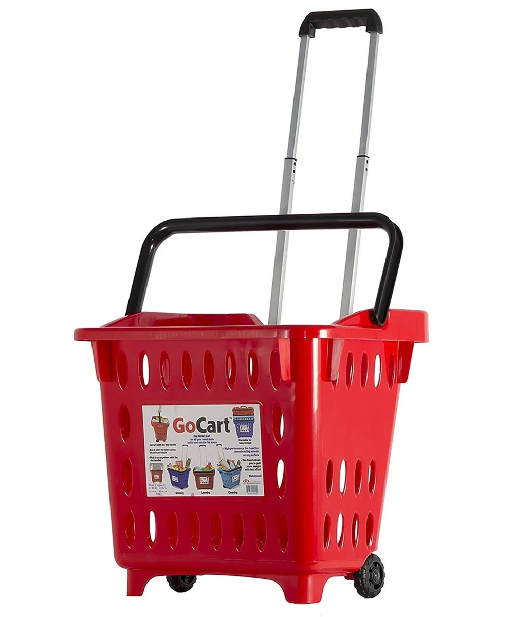GoCart Rolling Shopping Basket, Red