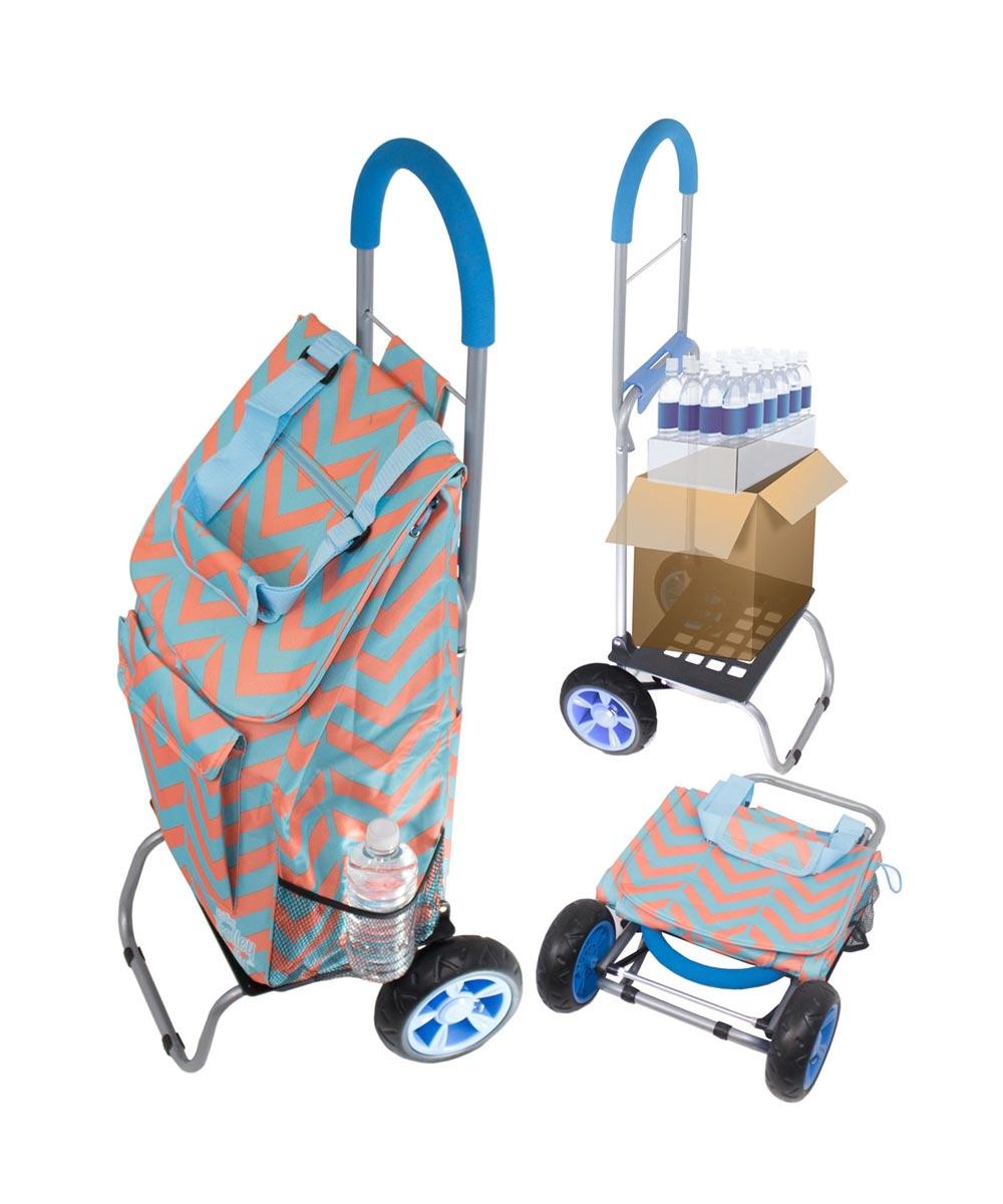 Convertible Trendy Trolley Dolly Shopping Cart, Broken Chevron Design