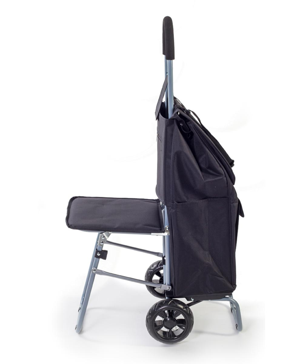 Convertible Trolley Dolly Shopping Cart with Seat, Black