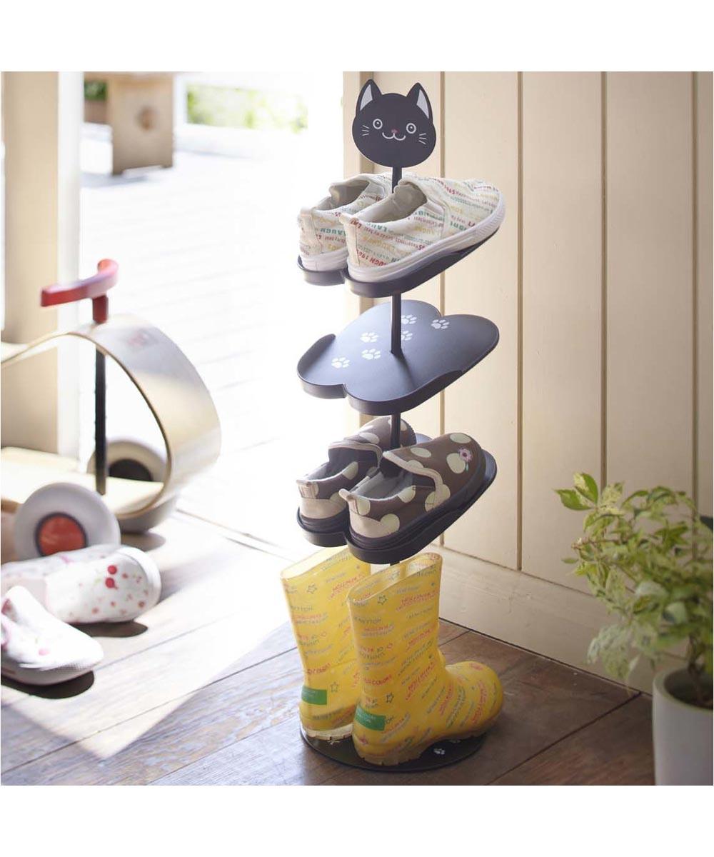 Black Kitten Kid's Shoe Rack