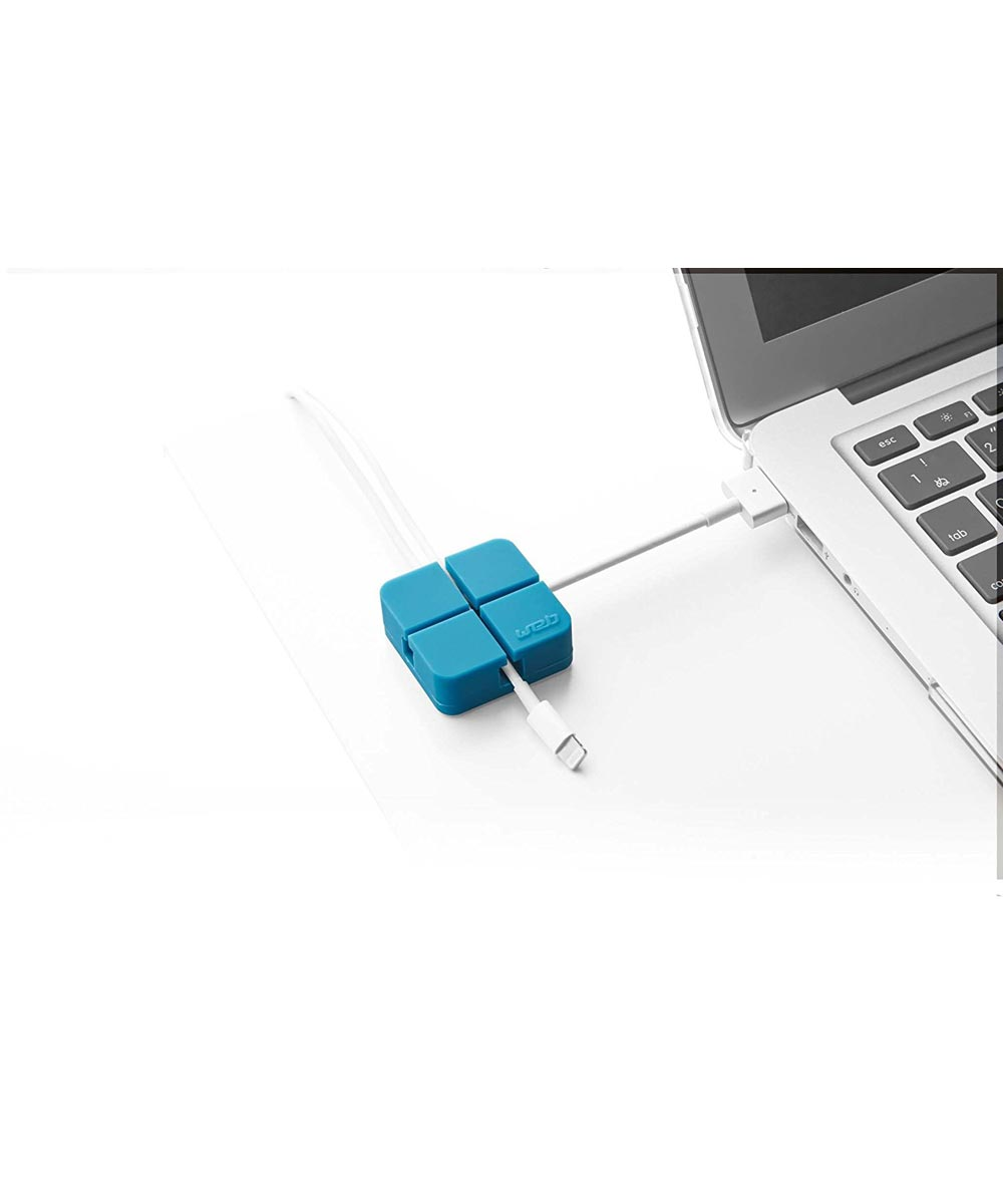 Electronics Web Cord Holder Organizer, Small, Blue