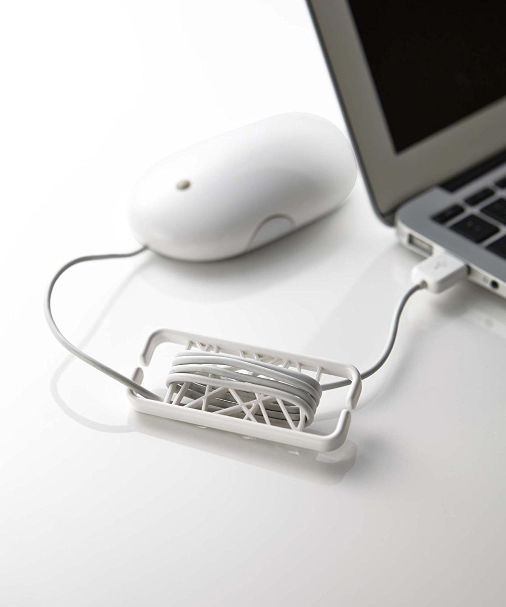 Web Earbud Cord Wrap Holder Organizer, White