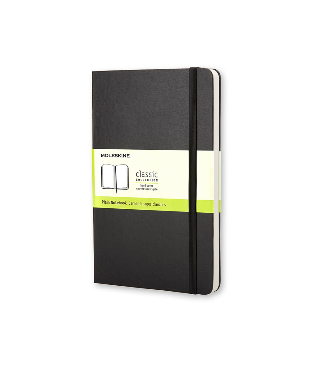 Classic Hard Cover Plain Notebook Journal, Pocket 3.5x5.5 Inch, Black