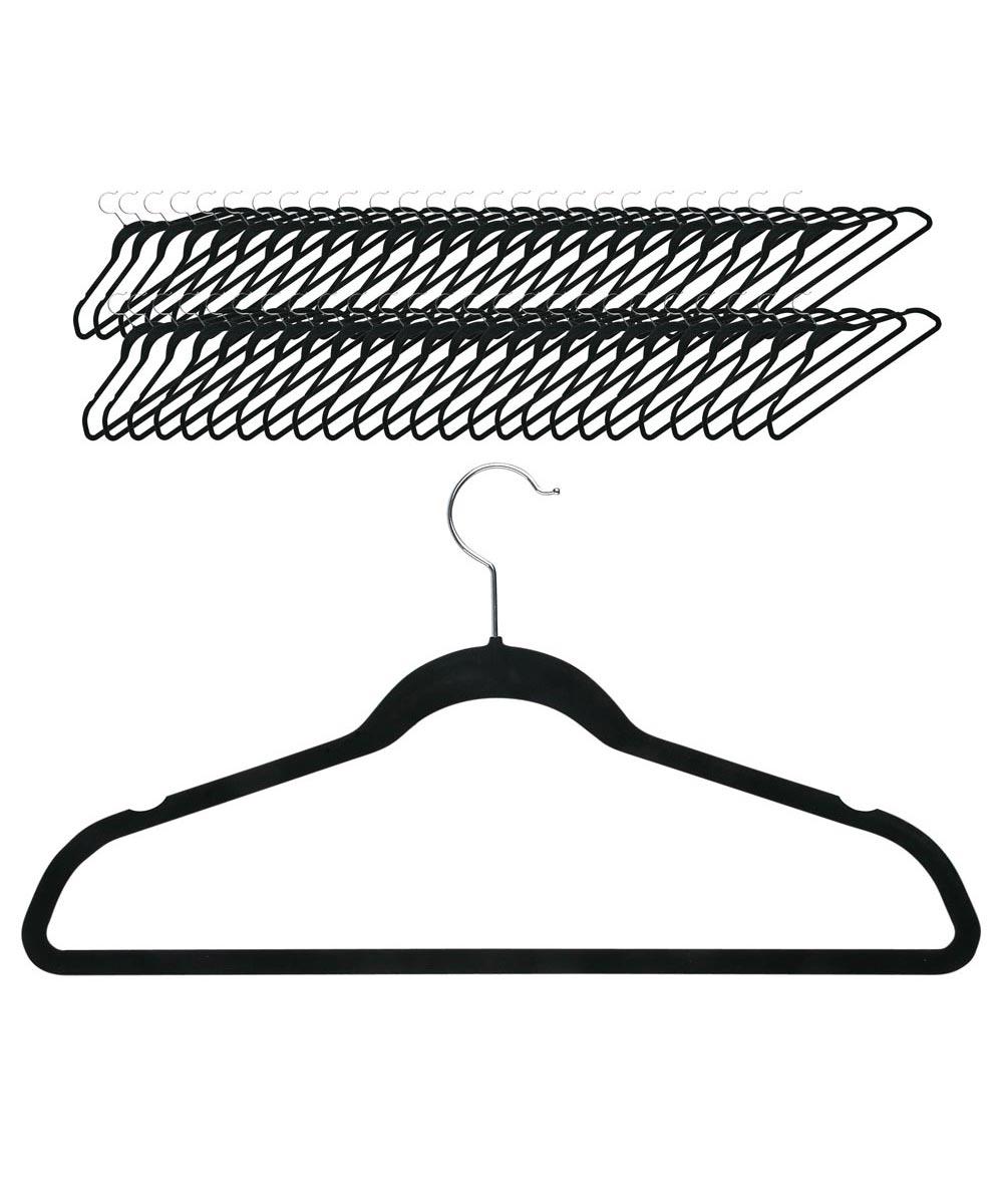 Velvet Touch Suit Hanger, 50-Pack, Black