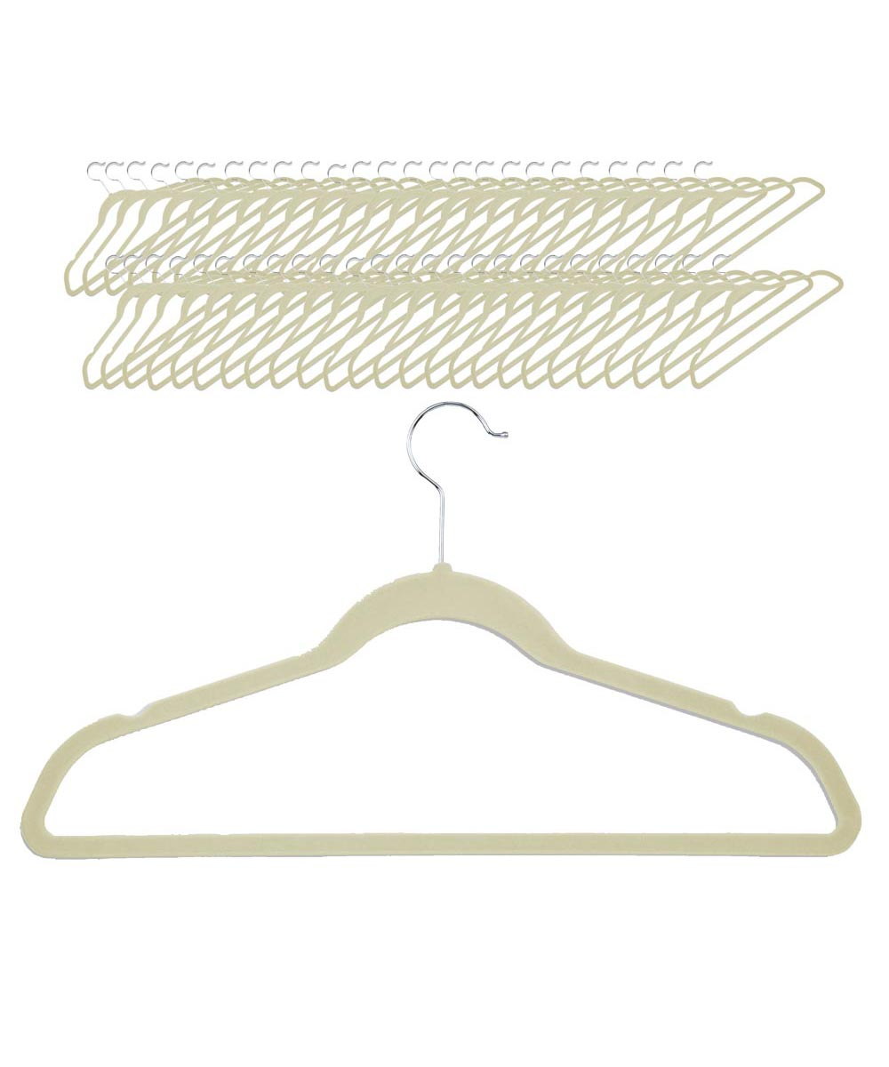 Velvet Touch Suit Hanger, 50-Pack, Ivory Color