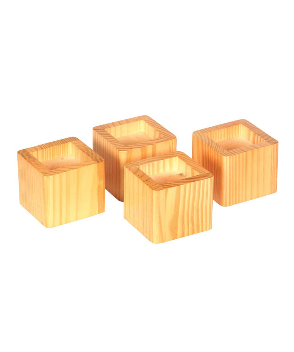 Bed Risers, 4-Pack, Honey Color