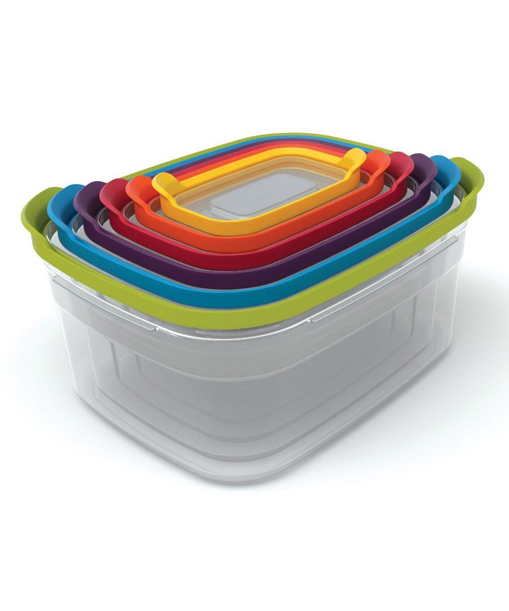 Nest Resuable Plastic Food Storage Containers with Multicolor Lids, Set of 6