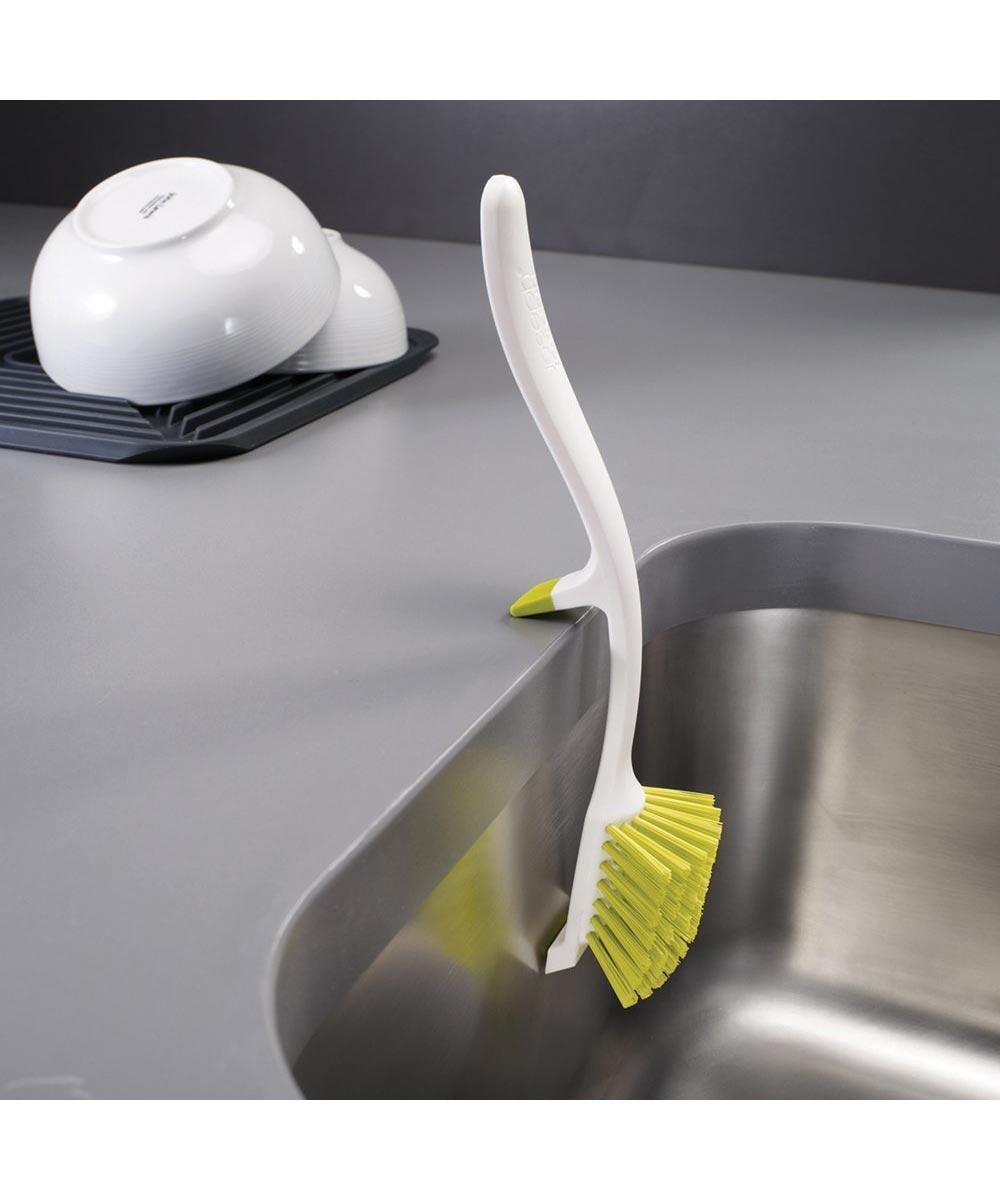 Edge Dish Brush, White/Green