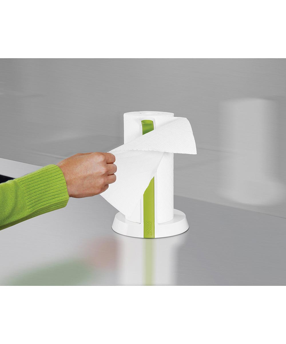 Easy-Tear Paper Towel Holder with Tearing Blade, White