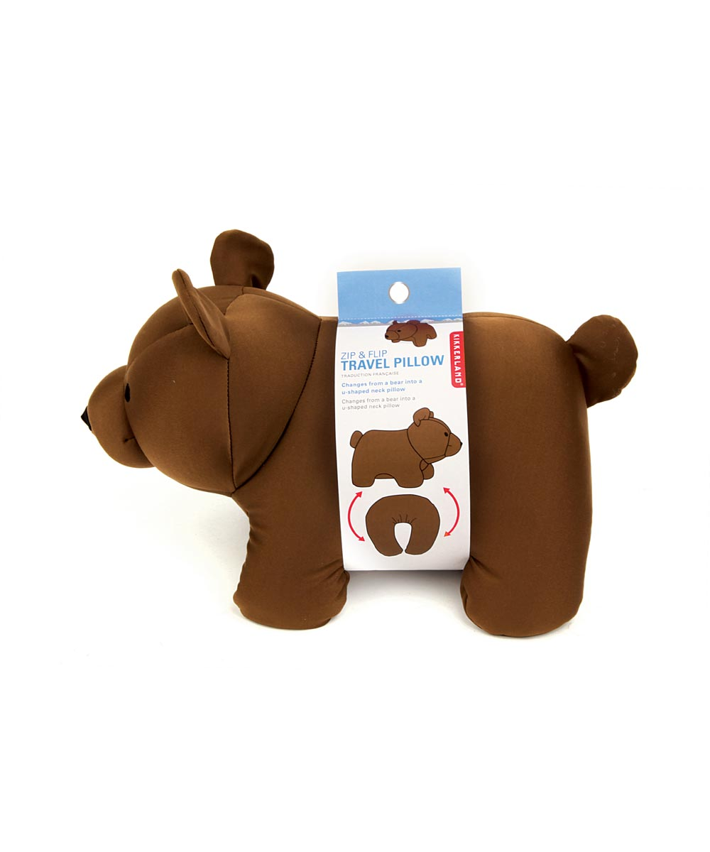Zip and Flip Bear Travel Pillow