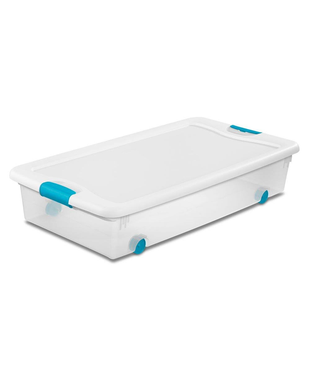 Sterilite Storage Latch Box with Wheels, 56 Quarts