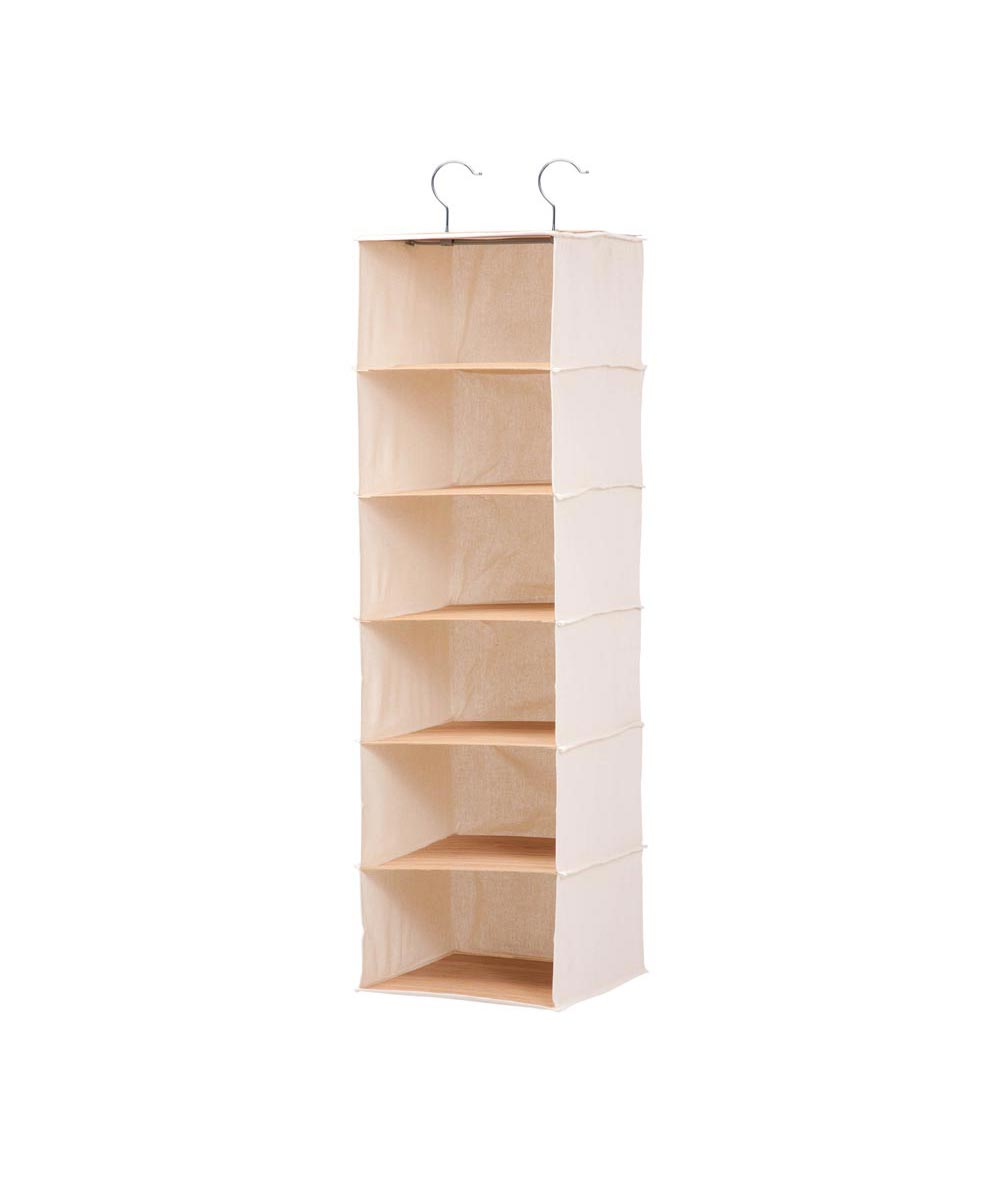 Hanging 6-Shelf Vertical Closet Organizer, Bamboo and Canvas