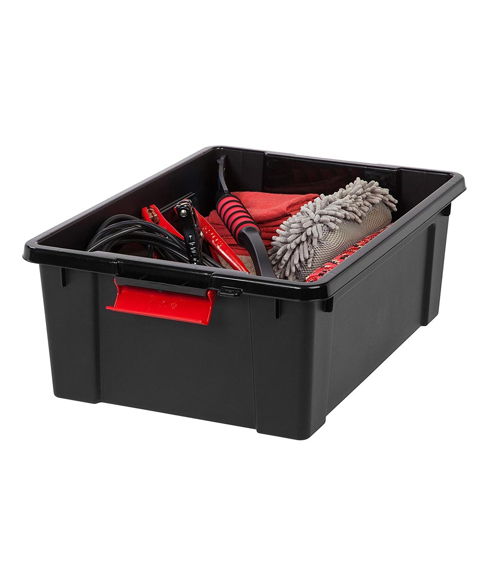 Lockable Store-It-All Tote Organizer, 10 Gallons, Black