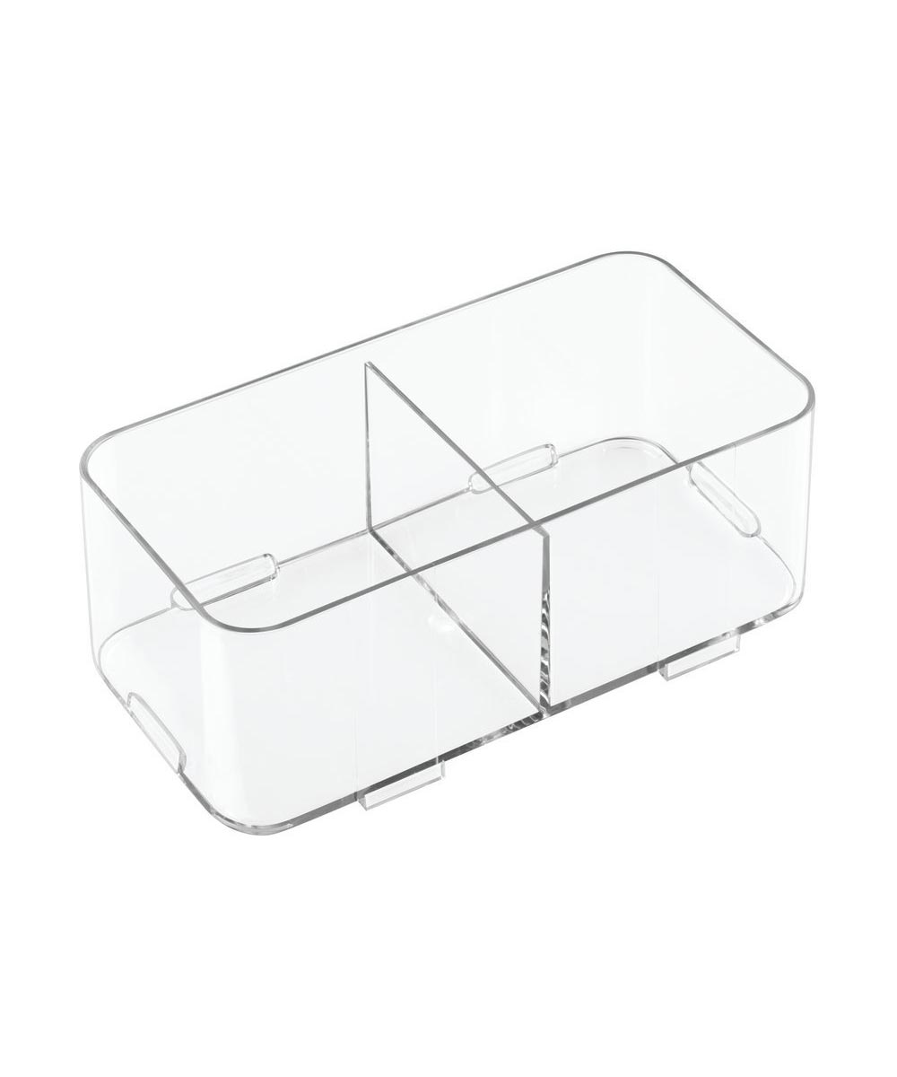 Clarity Interlocking Divided Drawer Organizer, 4x8x3, 2 Compartments