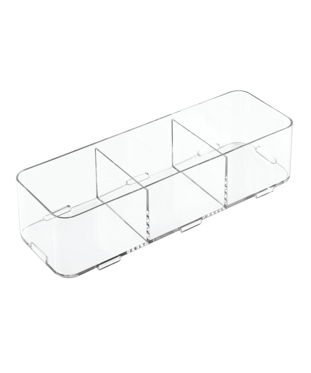 Clarity Interlocking Divided Drawer Organizer, 4x12x3, 3 Compartments
