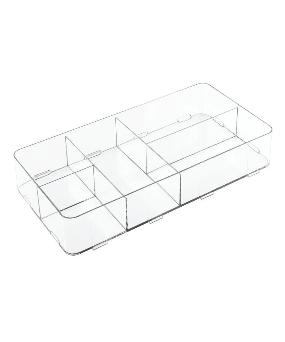 Clarity Interlocking Divided Drawer Organizer, 8x16x3, 5 Compartments