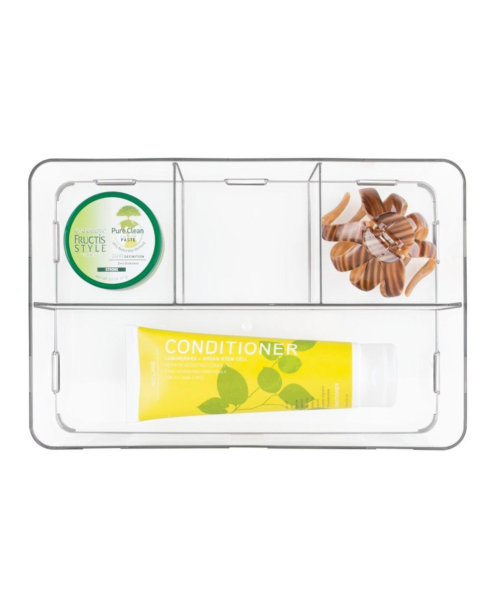 Clarity Interlocking Divided Drawer Organizer, 8x12x3, 4 Compartments