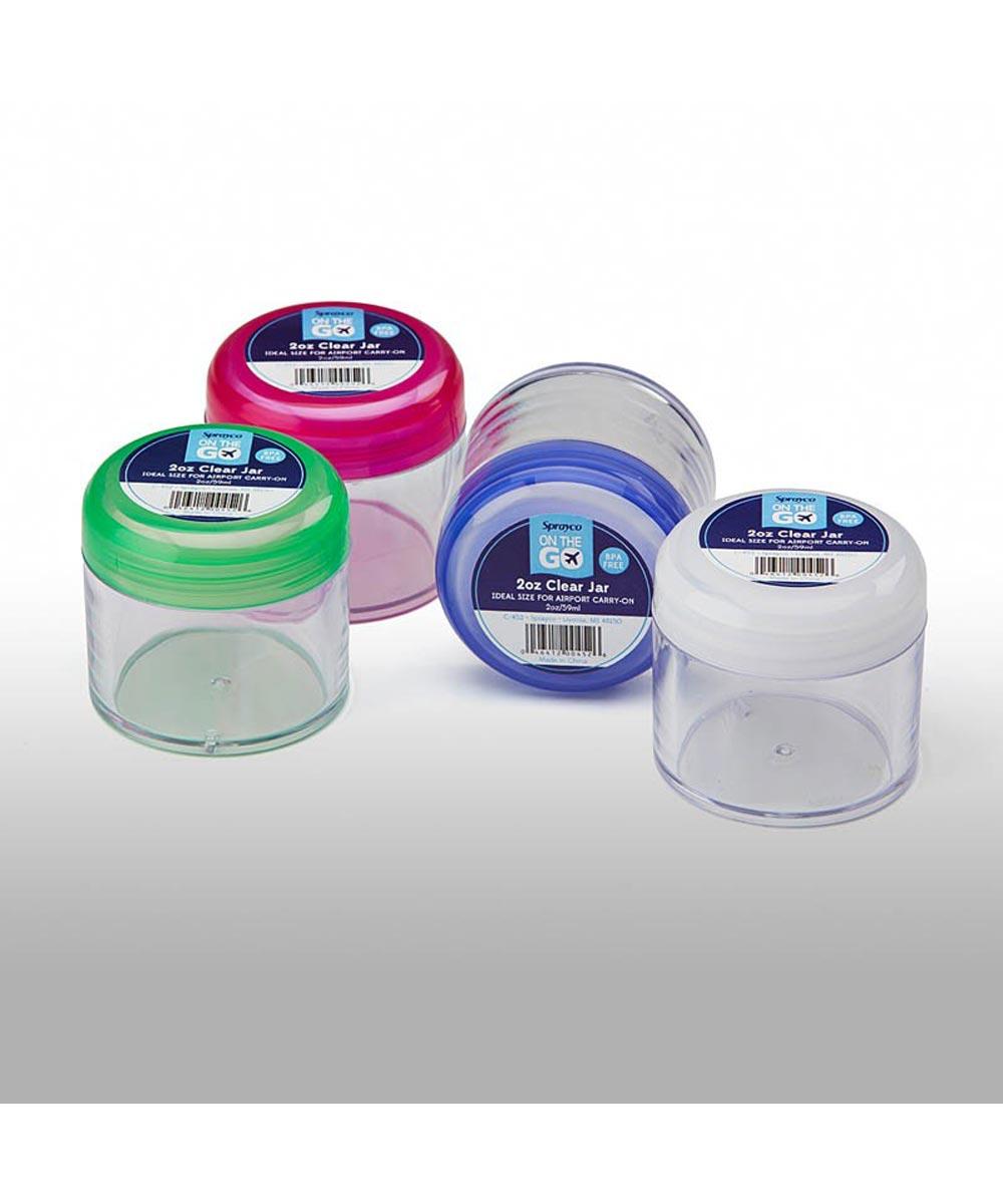 2 Ounce Clear Cream Jar, Assorted Colors