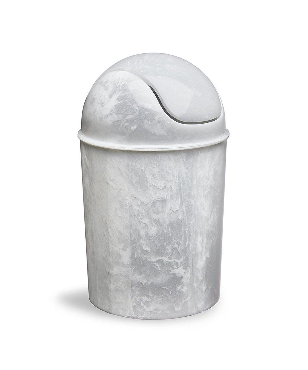 Mini Waste Can, White Onyx