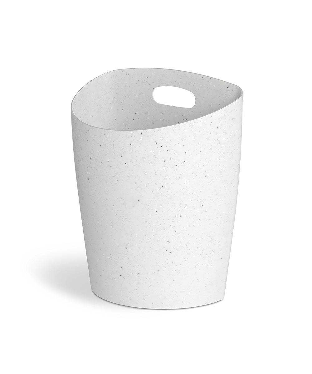 Trim Flat Back Waste Can, White Speckle