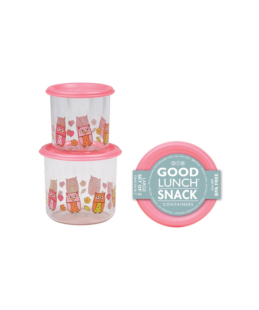 ORE' SUGARBOOGER Hoot! Good Lunch Snack Containers, Large Set of 2
