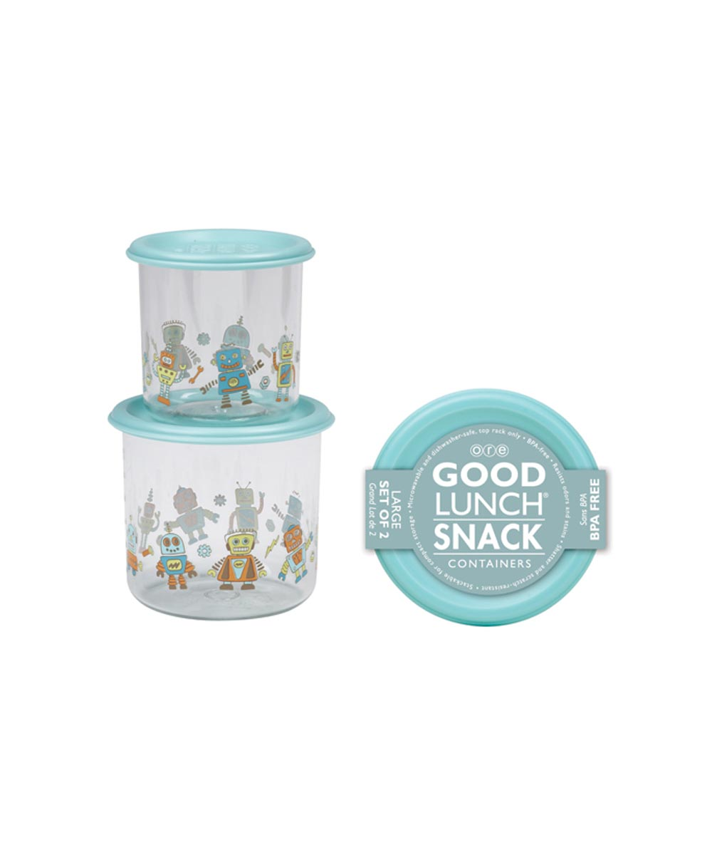 ORE' SUGARBOOGER Retro Robot Good Lunch Snack Containers, Large Set of 2