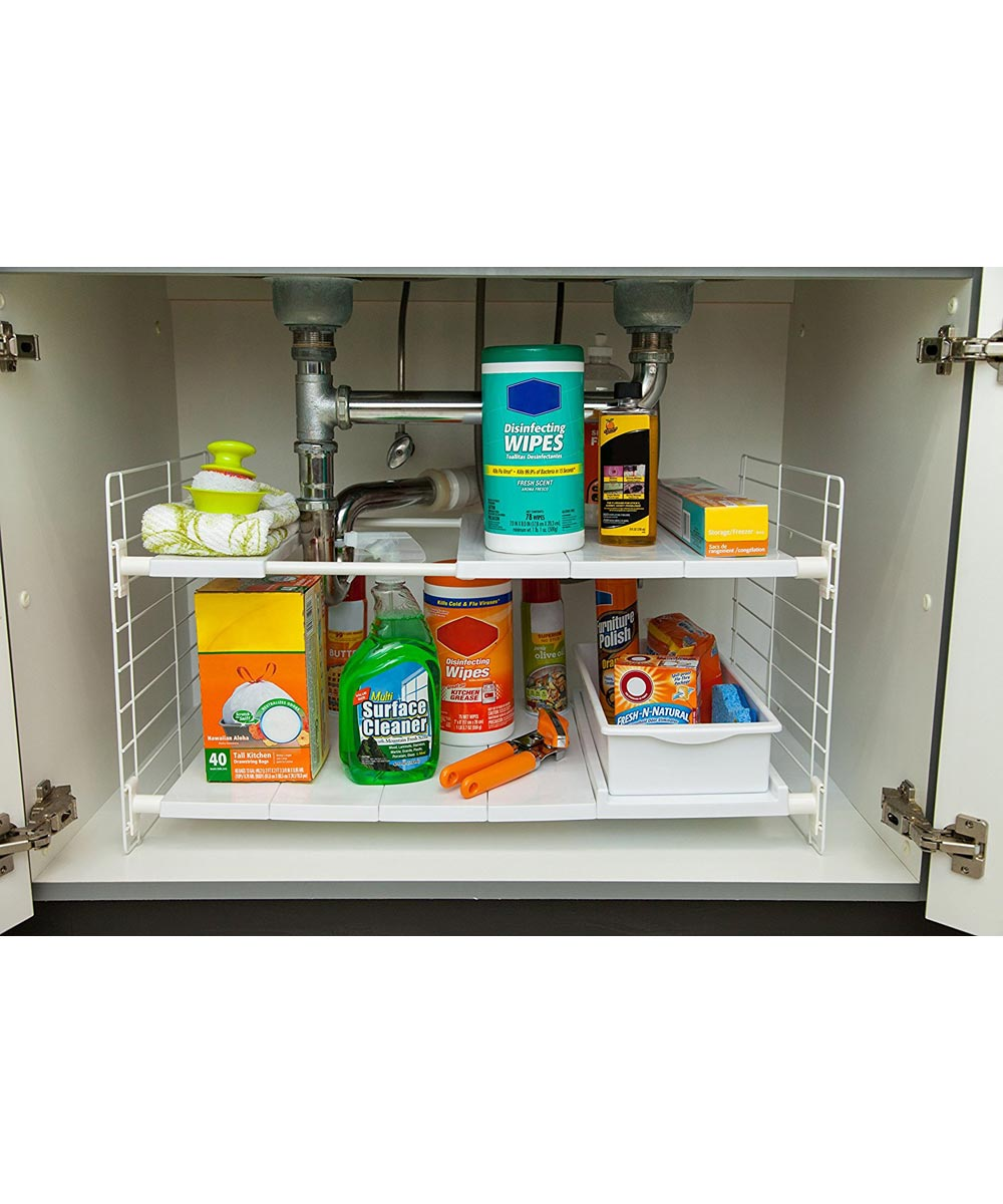 Expandable Under Sink Organizer Shelves with Sliding Drawer, White