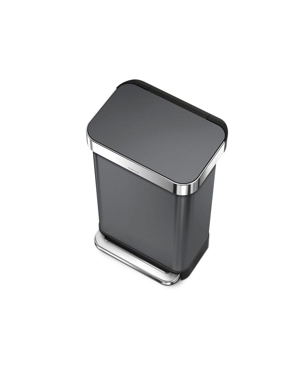 Rectangular Step Can with Liner Pocket, Black Stainless Steel, 45L