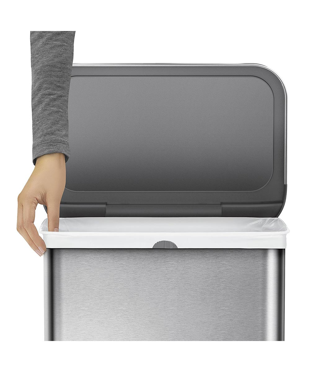 58 Liters/15.3 Gallons Rectangular Voice And Motion Sensor Trash Can, Brushed Stainless Steel