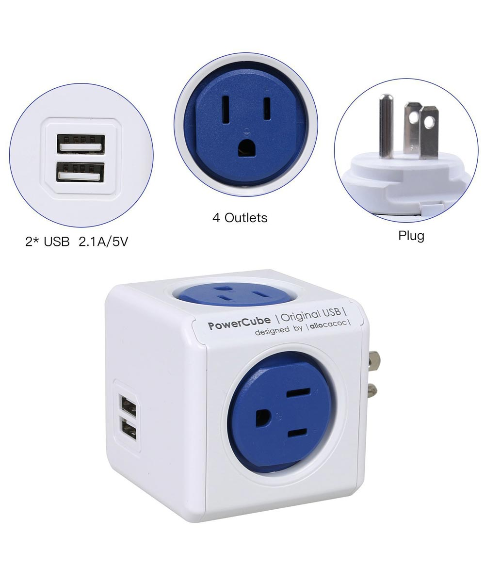 PowerCube Dual USB Outlet Adapter, White/Blue