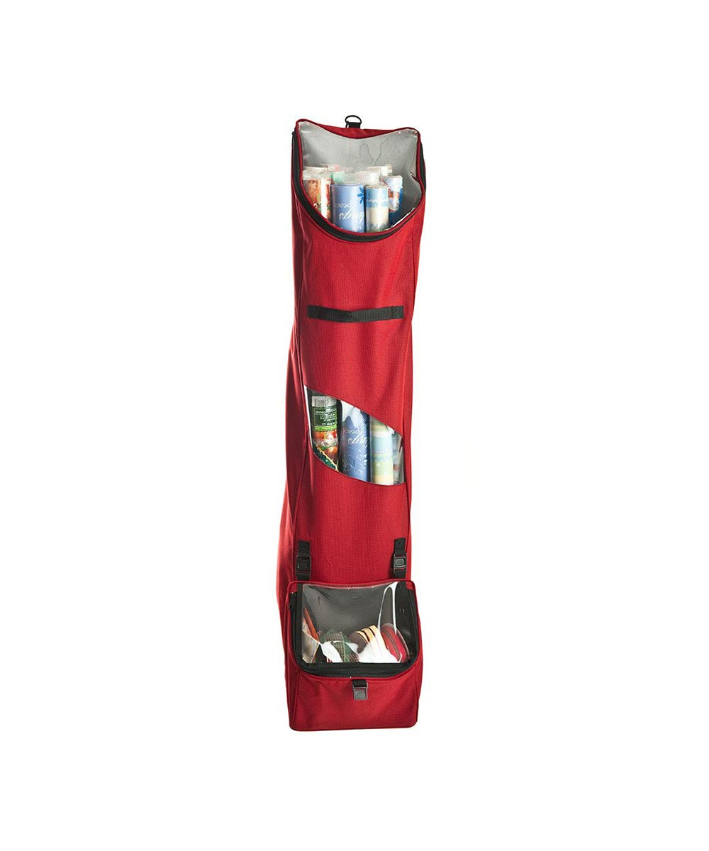40 in. Hanging Over-the-Door Holiday Wrapping Paper Storage Bag