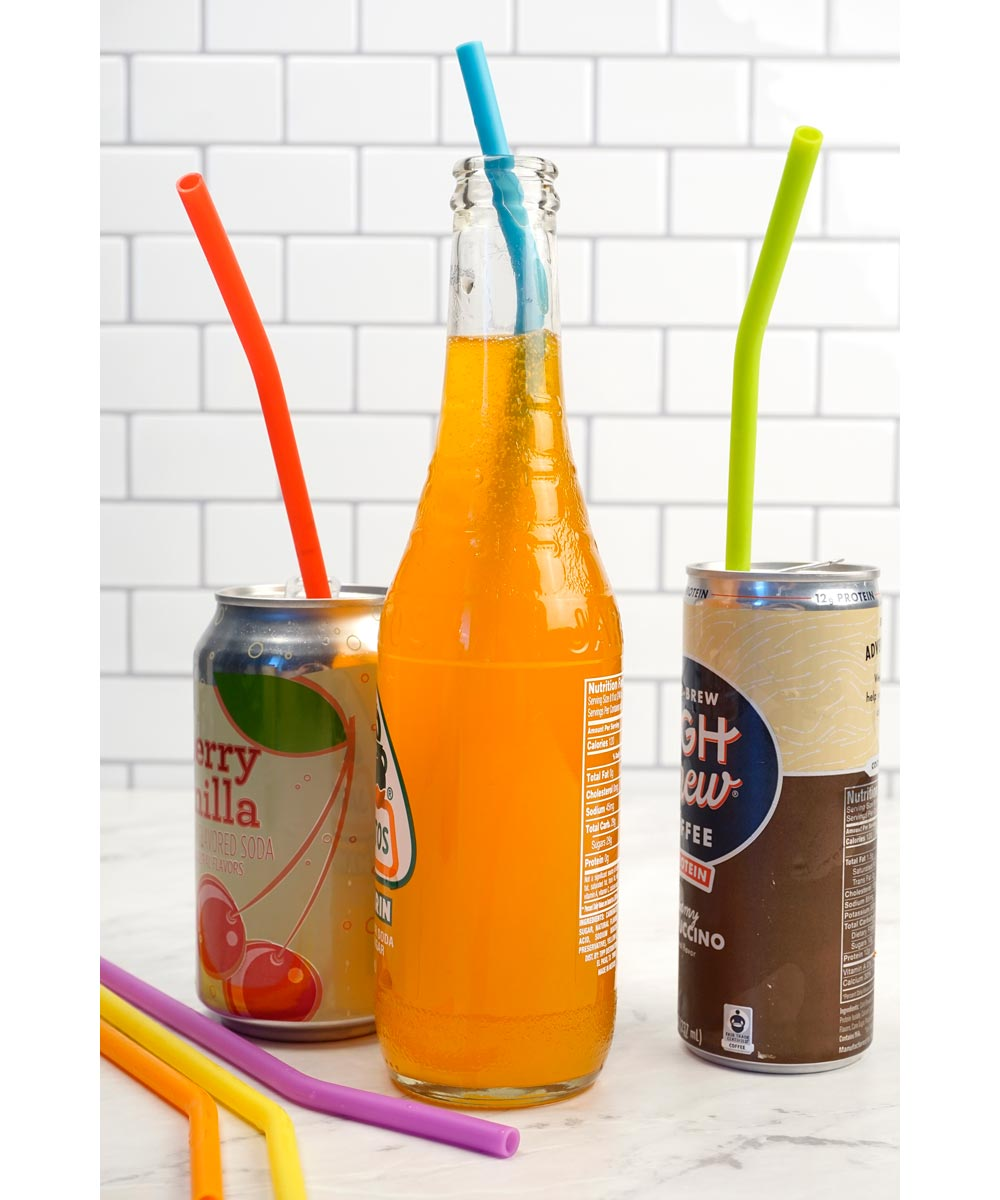 10 in. Reusable Silicone Straws, Set of 6 in Assorted Colors