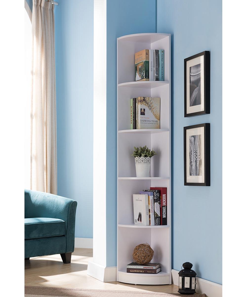 Simply Organized 5 Shelf Corner Bookcase White