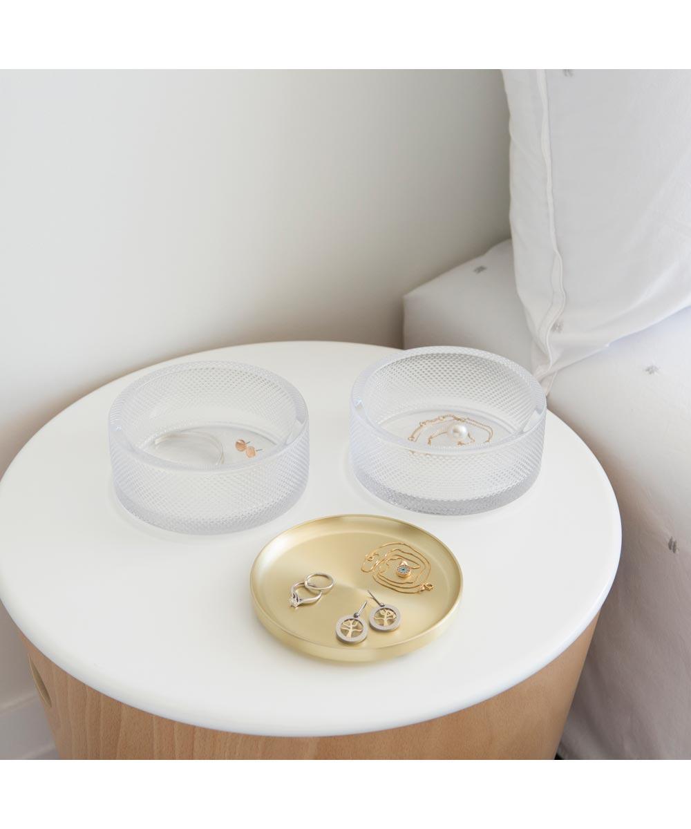 Tesora Round Stacking Jewelry Storage Box, Glass