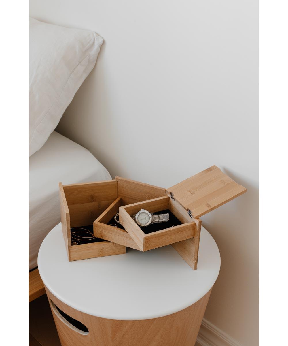 Tuck Folding Bamboo Jewelry Storage Box