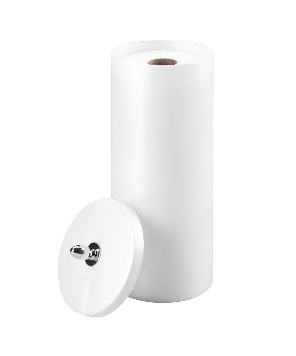 Orb Enclosed Plastic Toilet Paper Roll Holder with Cover, White Pearl