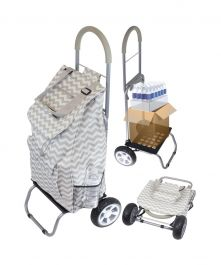 Convertible Trendy Trolley Dolly Shopping Cart, Gray Chevron
