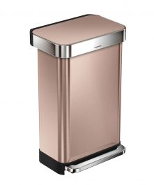 45 Liters/11.9 Gallons Rectangular Step Trash Can, Rose Gold Stainless Steel