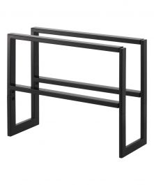 LINE Series 2-Tier Steel Expandable Low-Profile Shoe Rack, Black