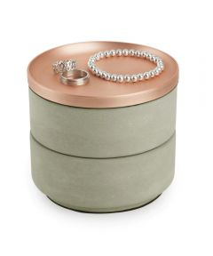 Tesora Round Stacking Jewelry Storage Box, Concrete & Copper