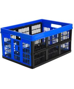 Folding Crate, 45 Liter 66 Pound Capacity, Blue