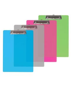 Plastic Standard Clipboard with Low Profile Clip, Assorted Colors