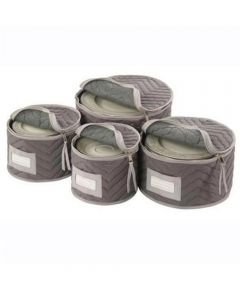 Deluxe Microfiber Plate Storage Chest, Set of 4, Gray